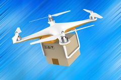 Drone flying with a delivery box package on a blue background Stock Photos