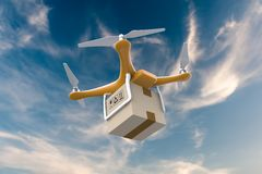 Drone flying with a delivery box package in the sky Royalty Free Stock Photo