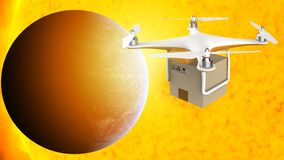 Drone flying with a delivery box package in the space Stock Photo