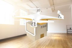 Drone flying with a delivery box package in a white room Stock Image