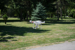 Drone flying in the forest Royalty Free Stock Photos