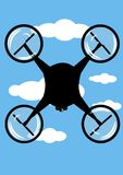 Drone flying. Illustration of a drone flying in a blue sky royalty free illustration