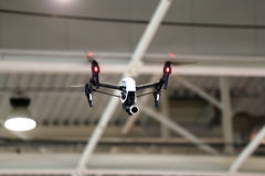 Drone flying in an industrial factory indoor Royalty Free Stock Images