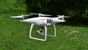 Drone flying low. Altitude on the field stock images