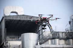 Drone is flying near an industry Royalty Free Stock Photography