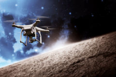 Drone Flying On The Outer Space Stock Image