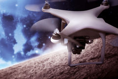 Drone Flying On The Outer Space Royalty Free Stock Image