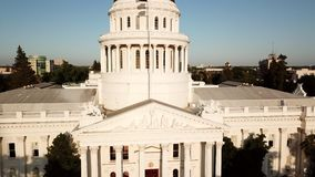 Drone flying over the California State Capitol. Sacramento.USA
