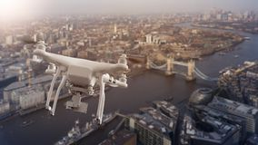 Drone flying over cityscape of London. Multicopter drone flying over the cityscape of London, England, United Kingdom Stock Photo