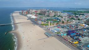 Drone flying over Coney Island stock footage