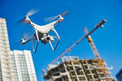 Drone survellance over construction area. building site inspection. Drone flying over construction site for control and industrial inspection. video survellance royalty free stock photo