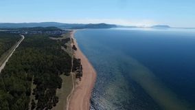 Drone flying over the forest near Lake Baikal, Buryatia, Russia stock video footage