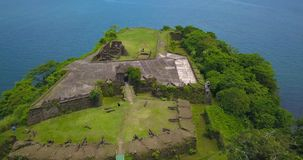 Aerial drone view of Fort San Lorenzo in Panama. Drone flying over Fort San Lorenzo in Panama stock footage