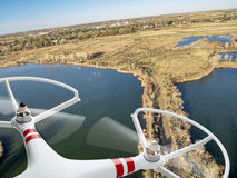 Drone flying over lakes and swamp Stock Photo