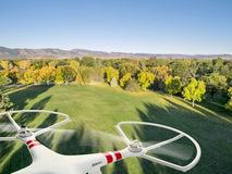 Drone flying over park Stock Photos