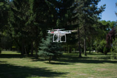 Drone flying over the park Royalty Free Stock Photo