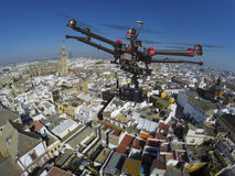 Drone flying over the roofs of Seville Royalty Free Stock Photo