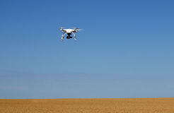 Drone flying over wheat field Stock Photography