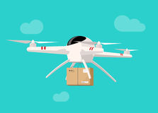 Drone flying in sky with parcel box delivery vector illustration. Drone flying in sky with parcel box vector illustration, concept of packaging delivery via Stock Photos