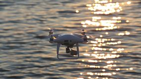 Drone flying sparkle sunlight on sea stock video footage