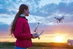 Drone flying at sunset royalty free stock photos