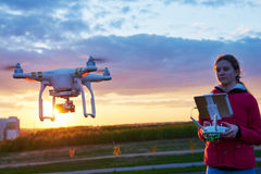 Drone flying at sunset stock image
