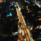Aerial view of city at night, São Paulo, Brazil royalty free stock images