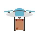 Drone flying technology with box carton Royalty Free Stock Photo