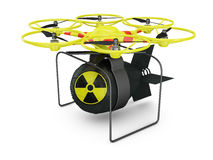 Drone. Flying drone to which is attached nuclear bomb stock illustration