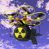 Drone. Flying drone to which is attached nuclear bomb royalty free illustration