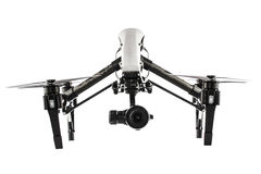 Drone flying in white background Royalty Free Stock Image