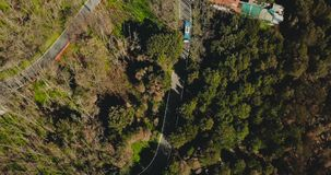 Drone follows blue bus driving along mountain road. Aerial view of a very narrow forest driveway. Travel and tourism. 4K. Drone follows blue bus driving along stock video