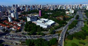 Drone footage of an avenue with a lot of traffic in a big city, 23 May Avenue, Sao Paulo, Brazil. South America stock footage