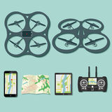 Drone footage emblems. Set of aerial drone footage emblems. Vector Illustration Stock Photos