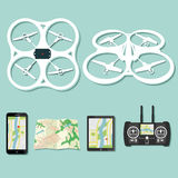 Drone footage emblems. Set of aerial drone footage emblems. Vector Illustration Stock Images