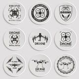 Drone footage emblems. Set of aerial drone footage emblems. Vector Illustration Stock Photo