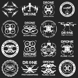 Drone footage emblems. Set of aerial drone footage emblems. Vector Illustration Stock Photography