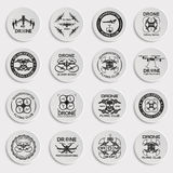 Drone footage emblems. Set of aerial drone footage emblems. Vector Illustration Royalty Free Stock Image