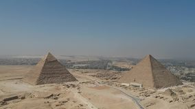 Drone footage of Great Pyramids of Giza near Cairo Egypt