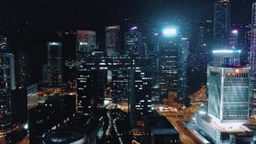 Footage of Hong Kong and Kowloon cityscape  view fron sky. Drone footage of Hong Kong and Kowloon city from the sky stock video footage