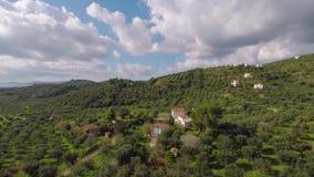 Aerial shot of village stock video