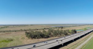 Drone Footage Interstate 80 Traffic  With Blue Sky stock video