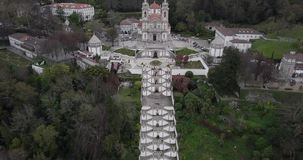 Aerial view of the church and stairs of Bom Jesus in Braga Portugal stock video footage