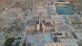 Drone footage of Karnak temple in Luxor, Egypt