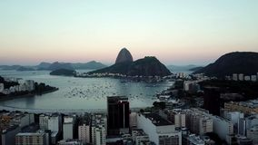 Aerial view of Rio de Janeiro, Brazil. Sugar loaf mountain and Botafogo beach. Christ the redeemer