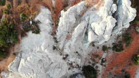 Drone footage of Nevada, USA rock formations. Aerial drone footage of calcium carbonate rock formations in Nevada, USA desert near Reno stock video
