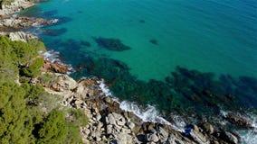 Drone footage over the Costa Brava coastal near the small village Sant Antoni de Calonge of Spain. Torre Valentina bays stock video footage