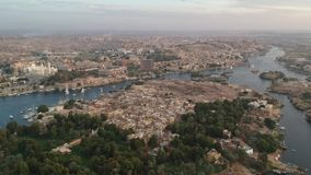 Drone footage of river Nile, Karnak temple and city Luxor in Egypt. Aerial Footage by Drone stock video
