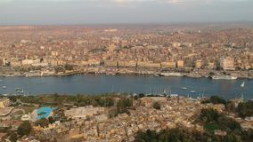 Drone footage of river Nile, Karnak temple and city Luxor in Egypt. Aerial Footage by Drone stock video footage