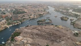 Drone footage of river Nile, Karnak temple and city Luxor in Egypt. Aerial Footage by Drone stock footage